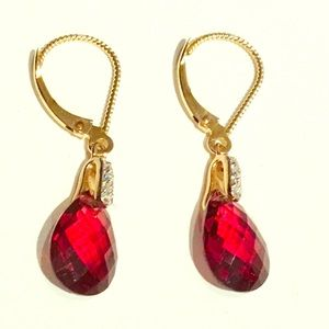 New Red Garnet and Diamond Earrings in Gold